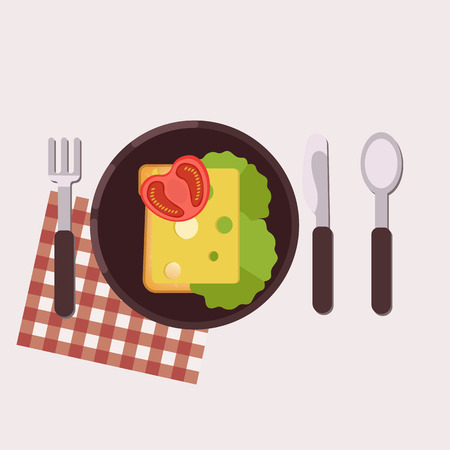 Toast with cheese, butter, tomato and green salad served on a plate with fork, knife, spoon and napkin Healthy food Vector illustration.