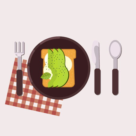 Toast with cream cheese and avocado served on a plate with fork, knife, spoon and napkin Healthy food Vector illustration 向量圖像