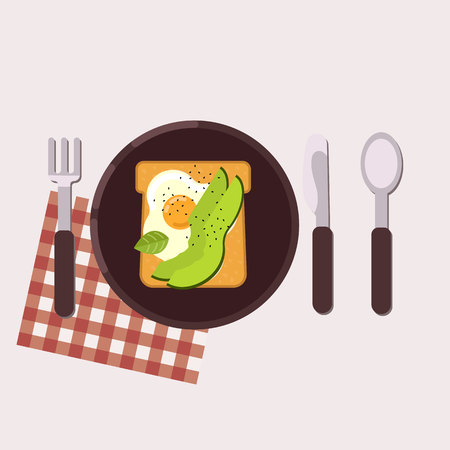 Toast with fried egg and avocado served on a plate with fork, knife, spoon and napkin Healthy food Vector illustration Иллюстрация