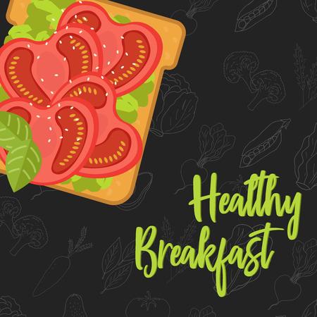 Concetto di menu per ristorante e caffetteria. Modello del menu della colazione. Modello di menu per una sana colazione. Panino in stile piatto. Illustrazione vettoriale con frutta e verdura disegnata a mano. illustrazione vettoriale Vettoriali