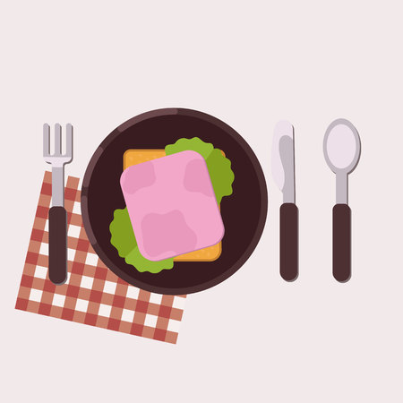 Toast with ham and green salad served on a plate with fork, knife, spoon and napkin. Healthy food. Vector illustration.
