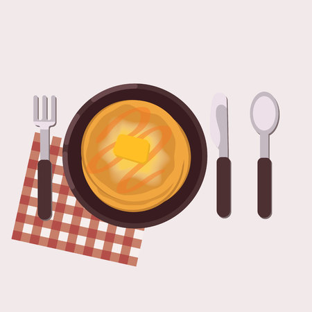 Toast with pancakes served on a plate with fork, knife, spoon and napkin. Healthy food. Vector illustration.
