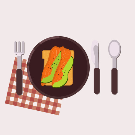 Toast with smoked salmon and avocado served on a plate with fork, knife, spoon and napkin. Healthy food. Vector illustration.
