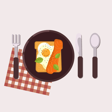 Toast with fried egg and smoked salmon served on a plate with fork, knife, spoon and napkin. Healthy food. Vector illustration.