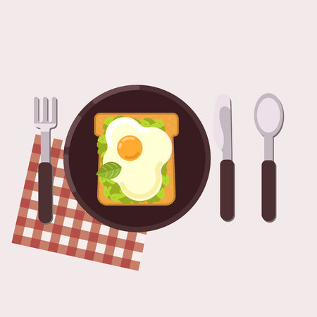 Toast with fried egg and avocado paste served on a plate with fork, knife, spoon and napkin. Healthy food. Vector illustration.