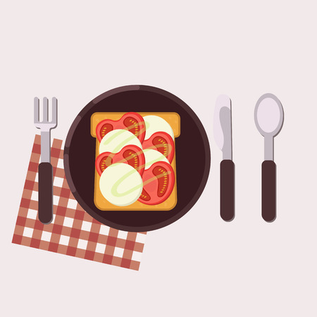 Toast with tomatoes and mozzarella served on a plate with fork, knife, spoon and napkin. Healthy food. Vector illustration.
