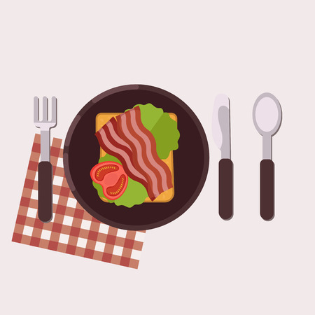 Toast with fried bacon, green salad and tomato served on a plate with fork, knife, spoon and napkin. Healthy food. Vector illustration.