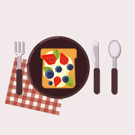 Toast with berries and cream cheese served on a plate with fork, knife, spoon and napkin. Healthy food. Vector illustration.