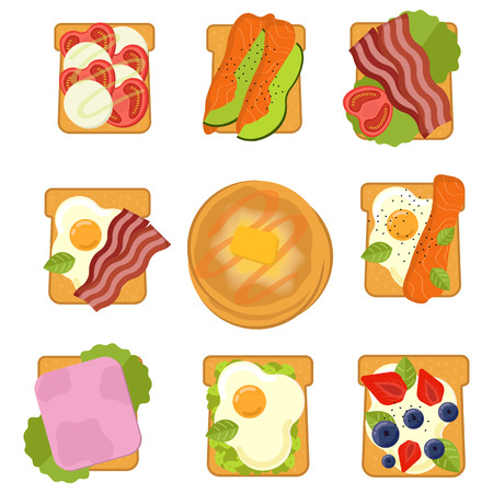 Set of sandwiches with different ingredients. Toast with avocado salami cheese salmon berries, strawberry. Pancales Healthy food.