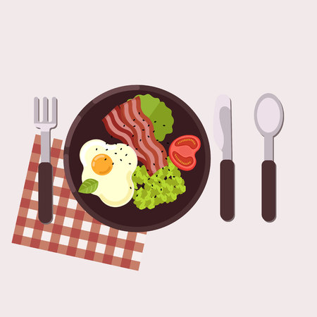 Breakfast concept. Fried egg, avocado paste, tomato and bacon served on a plate with fork, knife, spoon and napkin. Healthy food. Vector illustration.