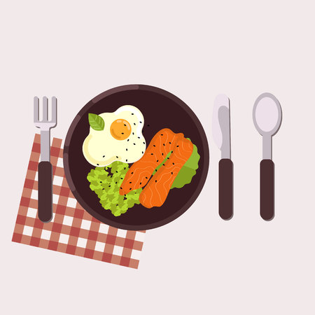 Breakfast concept. Fried egg, avocado paste, tomato and smoked salmon served on a plate with fork, knife, spoon and napkin. Healthy food. Vector illustration.