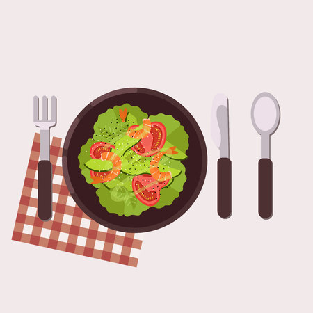 Menu concept. Salad with lettuce, tomatoes, avocado and shrimps served on a plate with fork, knife, spoon and napkin. Healthy food. Vector illustration. Çizim