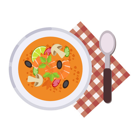Menu concept Tom Yum Kung Thai food Soup in flat style Vector illustration.