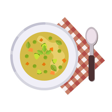 Menu concept. Minestrone soup. Italian cuisine Healthy food. Soup in flat style. Vector illustration.