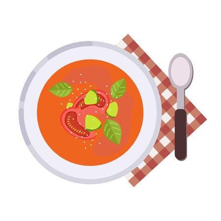 Menu concept. Gazpacho soup Tomato soup Spanish cuisine. Healthy food. Soup in flat style. Vector illustration. Illustration