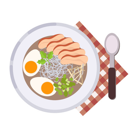 Menu concept. Ramen soup with pork or chicken, noodles, stock and vegetables. Healthy food. Japanese cuisine. Soup in flat style. Vector illustration. Vettoriali