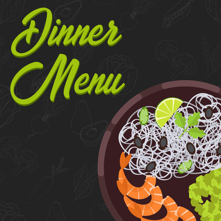 Menu concept for restaurant and cafe. Dinner menu template Flat style main course Vector Illustration with hand drawn fruits and vegetables Vector Illustration