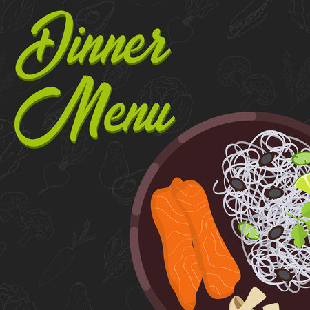 Menu concept for restaurant and cafe. Dinner menu template Flat style main course Vector Illustration with hand drawn fruits and vegetables Vector Illustration Vetores