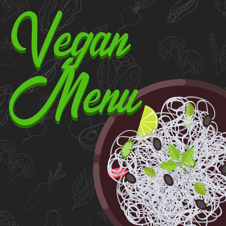 Menu concept for restaurant and cafe. Vegan menu template. Flat style dinner menu. Vector Illustration with hand drawn fruits and vegetables. Vector Illustration