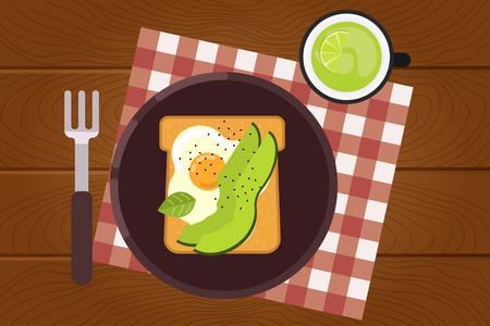Ensemble de nourriture pour le petit-déjeuner sur fond de surface en bois dans un style design plat. L'heure du déjeuner. Illustration vectorielle.