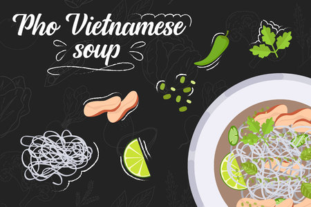 Pho Vietnamese soup recipe. Cooking soup with ingredients. Flat style illustration. Vector illustration.