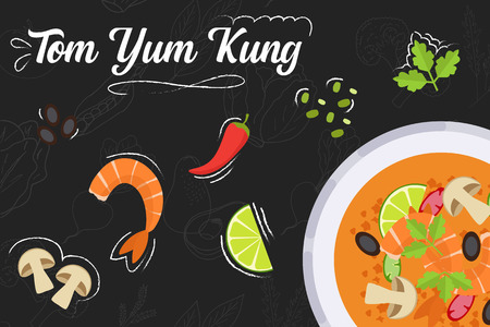 Tom Yum Kung recipe. Cooking soup with ingredients. Flat style illustration. Vector illustration.