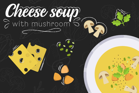 Cheese soup with mushrooms recipe. Cheese soup. Cooking soup with ingredients. Flat style illustration. Vector illustration. Stock Vector - 124144032