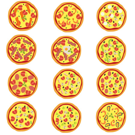Big set of traditional italian pizza in flat style. Vector illustration. Stock Illustratie