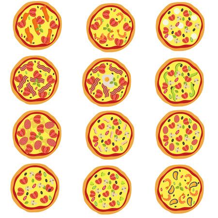 Gran conjunto de pizza italiana tradicional en estilo plano. Ilustración vectorial.