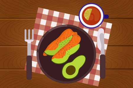 Set of breakfast food on wooden surface background in flat design style. Breakfast time. Vector illustration. Stock Illustratie