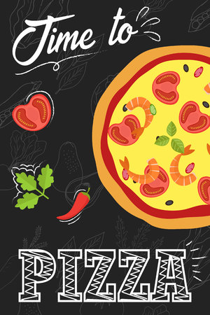 Time to eat pizza. Pizza with ingredients in flat style. Menu concept for cafe and restaurant. Flat pizza on chalkboard background. Vector illustration.