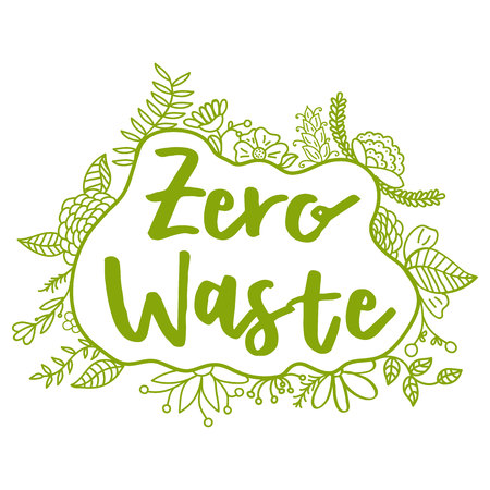 Zero Waste Concept. Hand drawn elements of zero waste life. Zero waste concept card. Good for posters, banners, web design, cards. Vector illustration. Ilustração