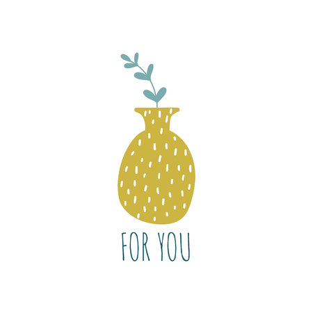 Hand drawn house plants and flowers. Scandinavian style illustration. Motivation card. For you. Vector illustration.