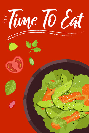 Salad on bright background in flat design style. Doodle elements. Flat food - salad. Time to eat. Vector illustration.