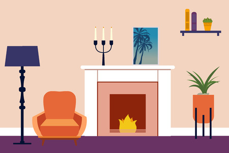 Living room Interior. Flat living room interior. Vector illustration. Illusztráció