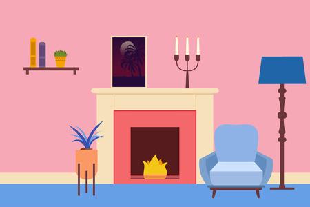 Interior de la sala de estar. Interior de la sala de estar plana. Ilustración vectorial.
