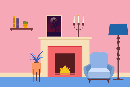 Living room Interior. Flat living room interior. Vector illustration. Ilustrace