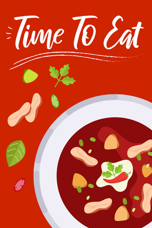 Soup on bright background in flat design style. Doodle elements. Flat food - soup. Time to eat. Vector illustration.