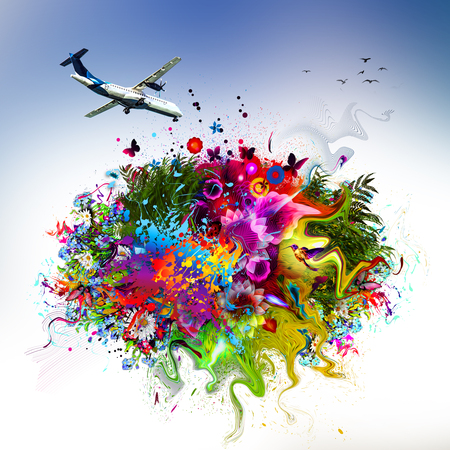 Trip concept illustration. Plane and abstract flowers with butterflies