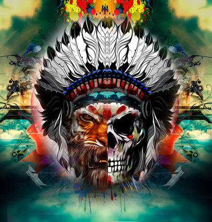 Hand-drawn tiger with half of human skull in indian feather with abstract background Stock Photo