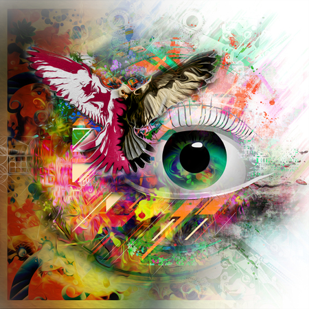 hand-drawn eye illustration with geometric abstract background