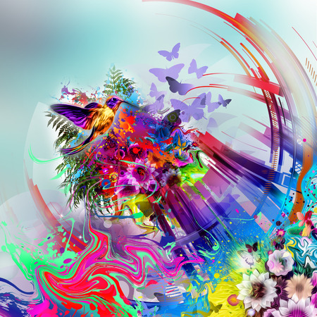 Abstract floral background with butterflies 版權商用圖片