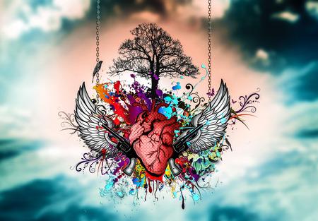 Heart graffiti with two pistols art illustration Archivio Fotografico
