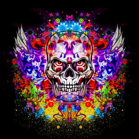 De kwade illustratie van de schedel kleurrijke kunst Stockfoto