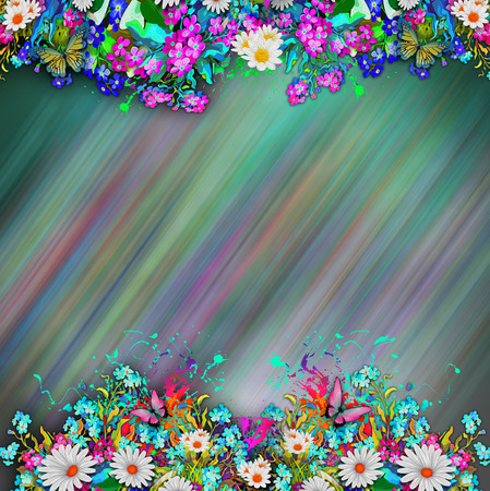 Colorful abstract background with butterflies and oil spill swirls. Stock Photo