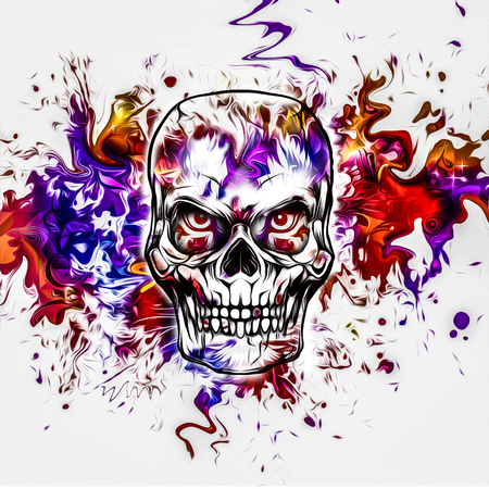 Colorful evil skull