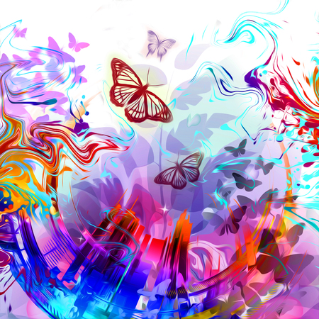 Abstract colorful flowers