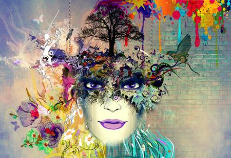 女性の顔、花蝶と抽象的な春花の背景