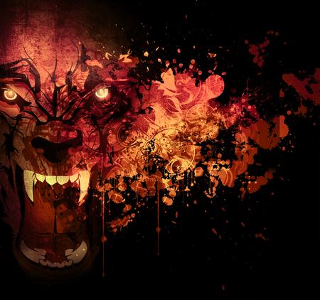 Heldere abstracte kleurrijke achtergrond en tijgerkop met halve schedel, Stockfoto
