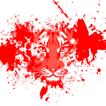 White abstract background with colorful tiger Stock Photo